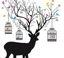 Deer with birds and birdcages by beakraus