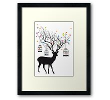 Deer with birds and birdcages Framed Print