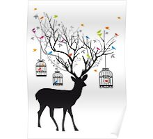 Deer with birds and birdcages Poster