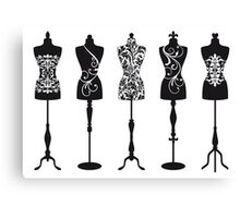 Vintage fashion mannequins with pattern Canvas Print