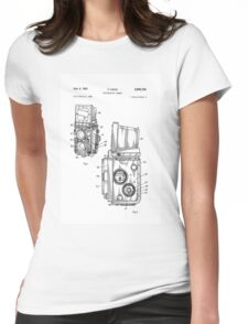 Rolleiflex Twin Lens Film Camera Vintage Patent Drawing  Womens Fitted T-Shirt