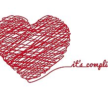 """red scribble heart with text """"it's complicated"""" by beakraus"""