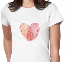 red fingerprint heart Womens Fitted T-Shirt