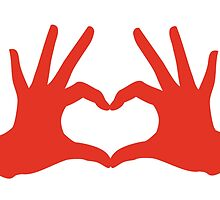 love, red hands with heart sign by beakraus