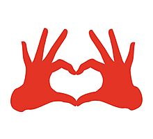 love, red hands with heart sign Photographic Print