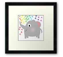 Baby Elephant Blowing Rainbow Bubbles Framed Print