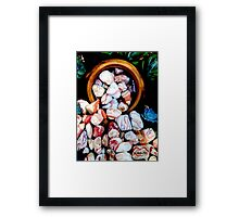 Earthenware Pot Spilling Colored Rocks Framed Print