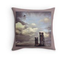 Helicopter Over Steel Bridge Throw Pillow