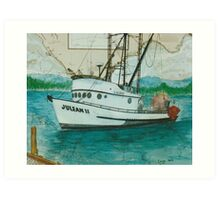JULEAN II Trawl Fish Boat Cathy Peek Nautical Chart Map Art Print