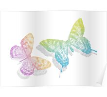 colorful abstract butterflies with shadow Poster