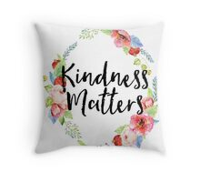 Kindness Matters Watercolor Floral Throw Pillow