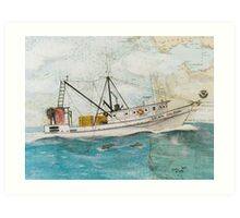 GOLDEN DOLPHIN Shrimp Boat Cathy Peek Nautical Chart Map Oregon Art Print