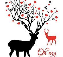 Oh my deer, stag with red hearts, design for Valentine's day, Christmas by beakraus