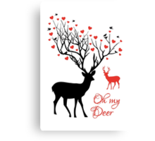 Oh my deer, stag with red hearts, design for Valentine's day, Christmas Canvas Print