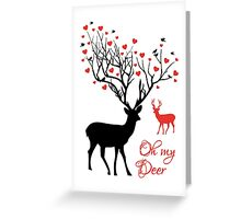 Oh my deer, stag with red hearts, design for Valentine's day, Christmas Greeting Card