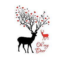 Oh my deer, stag with red hearts, design for Valentine's day, Christmas Photographic Print