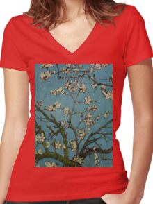 Van Gogh- Almond Blossoms Women's Fitted V-Neck T-Shirt