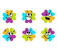New! Stylish 4 leaf clovers : Enjoy smile Photographic Print