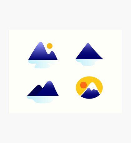Blue mountains vector icons : blue Art Print