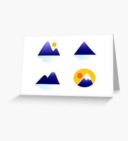 Blue mountains vector icons : blue Greeting Card