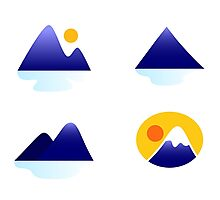 Blue mountains vector icons : blue Photographic Print