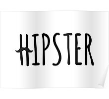 hipster, text design with mustache Poster