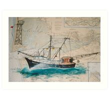 AMBITION Trawl Fish Boat Cathy Peek Nautical Chart Map Art Print