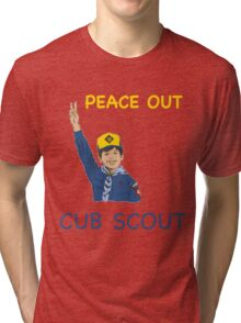 Peace Out Cub Scout Young Boy Scout Giving Peace Sign T-Shirt Tri-blend T-Shirt