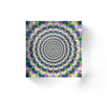 Psychedelic Pulse in Green Blue and Pink Acrylic Block