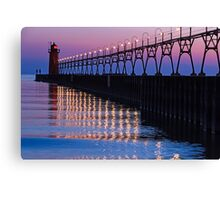 South Haven Lighthouse after Sundown with Reflections Canvas Print
