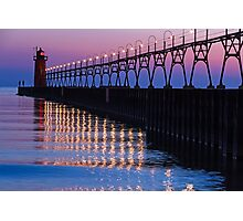 South Haven Lighthouse after Sundown with Reflections Photographic Print