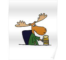 Funny Cool Moose Drinking Beer Cartoon Poster
