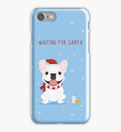 Frenchie Waiting for Santa - White Edition iPhone Case/Skin