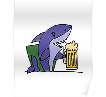 Funny Cool Shark Drinking Glass of Beer Poster
