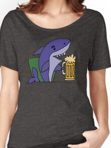 Funny Cool Shark Drinking Glass of Beer Women's Relaxed Fit T-Shirt