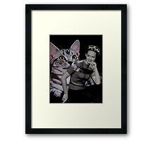Girl with Grey Cat Framed Print