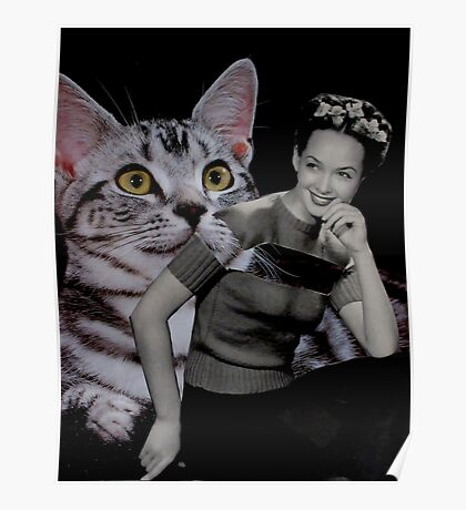 Girl with Grey Cat Poster