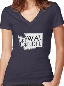 Wander Washington Women's Fitted V-Neck T-Shirt