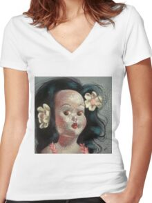 I'm Fine #9, (Hawaiian Doll) Women's Fitted V-Neck T-Shirt