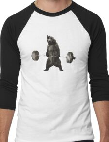 Bear Lifting Weights Funny Men's Baseball ¾ T-Shirt