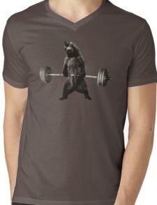 Bear Lifting Weights Funny Mens V-Neck T-Shirt