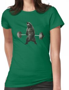 Bear Lifting Weights Funny Womens Fitted T-Shirt