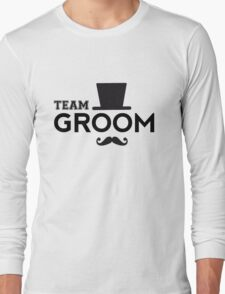 Team Groom t-shirt with hat and mustache Long Sleeve T-Shirt