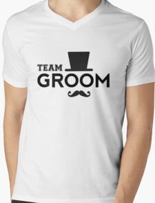 Team Groom t-shirt with hat and mustache Mens V-Neck T-Shirt