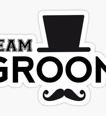 Team Groom t-shirt with hat and mustache Sticker