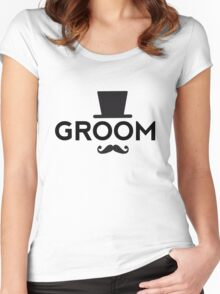 Groom t-shirt with hat and mustache Women's Fitted Scoop T-Shirt