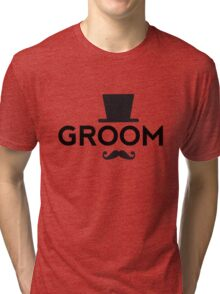 Groom t-shirt with hat and mustache Tri-blend T-Shirt