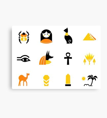 Collection of Egypt icons - pyramids, scarab, anubis, camel Canvas Print