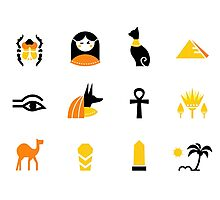 Collection of Egypt icons - pyramids, scarab, anubis, camel Photographic Print