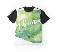 Arizona Watercolor Map - Phoenix Hand Lettering - Giclee Print of Original Art Graphic T-Shirt